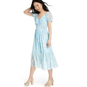 LoveShackFancy Sophie Blue Midi Dress
